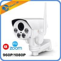 Sem fio Wi-fi Full HD 1080 P Bala Câmeras IP Wi-fi Ao Ar Livre PTZ 4X Pan Tilt Zoom Auto Foco 2.8-12mm 4 LED IR 60 m Onvif SD cartão