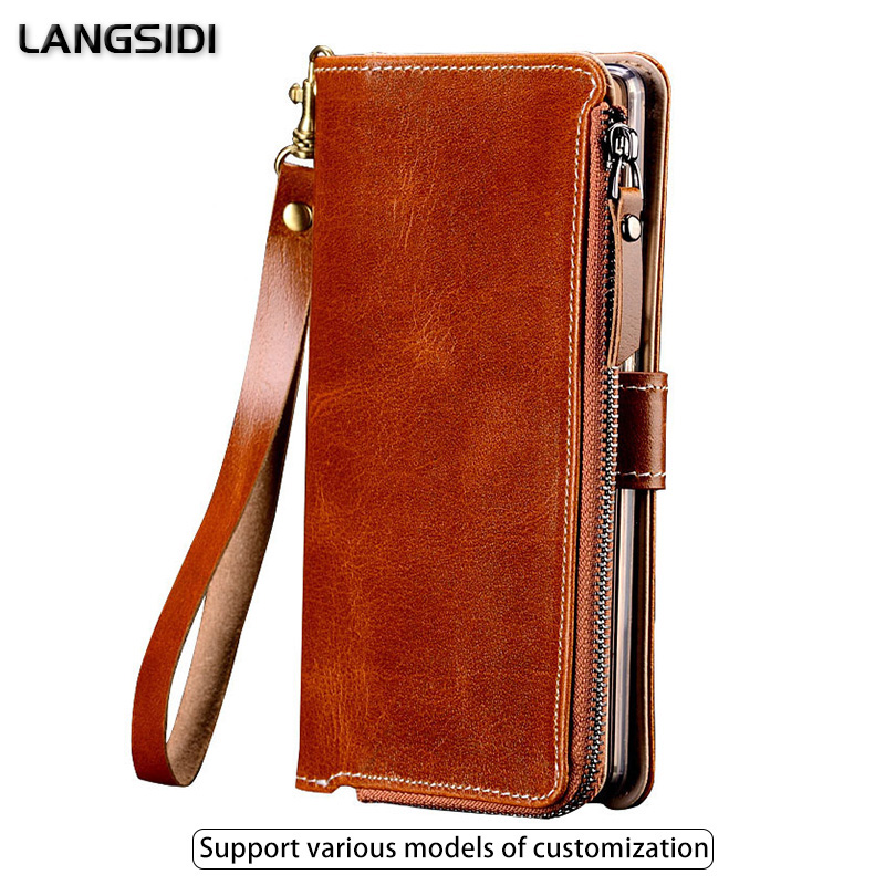 Multifunctional Zipper Genuine Leather Case For Oneplus 7 7pro 6t 6 5t 5 Wallet Stand Holder