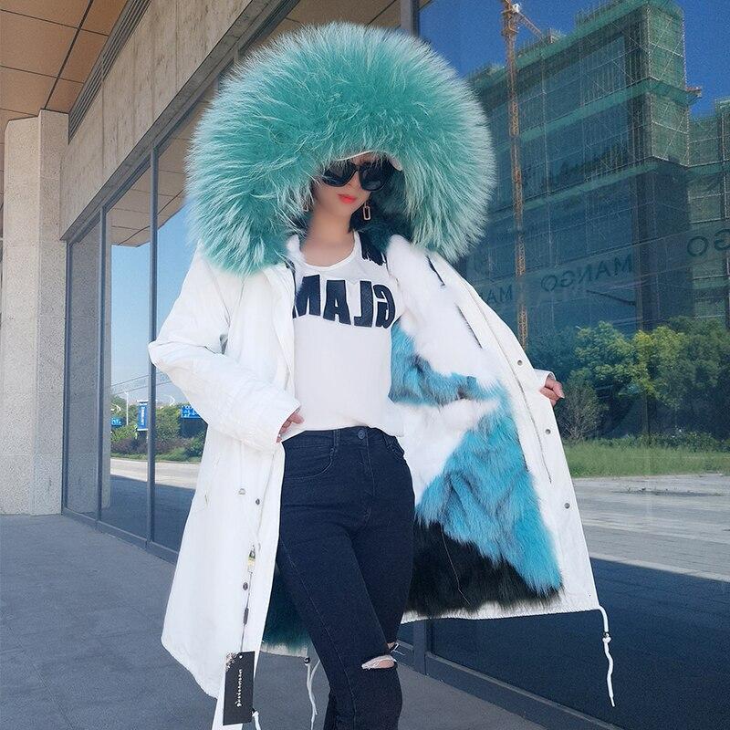 2018 Европейский Новый женский зимний свободный большой натуральный мех енота с капюшоном съемный Лисий Мех Лайнер куртки женские толстые те
