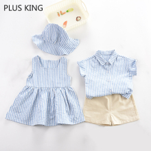 Г., детская одежда для фотосъемки, одинаковые комплекты для брата и сестры платье для девочек комплект одежды в синюю полоску для мальчиков, короткий рукав+ шорты