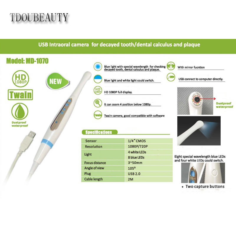 TDOUBEAUTY NEWEST 1080P Resolution USB Dental Intraoral Camera With Blue And White LED Free Shipping