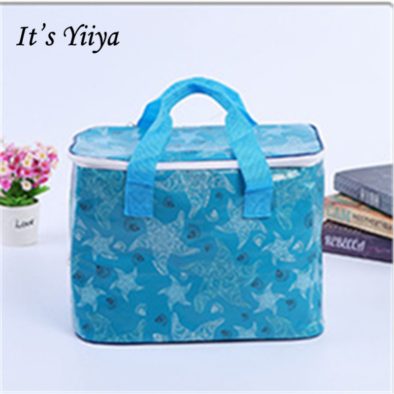 Its Yiiya New Blue Insulated Picnic Cooler Bag Lunch Bag Portable Travel Thermal Bags For Food With Storage Bag Ice Pack BD9006