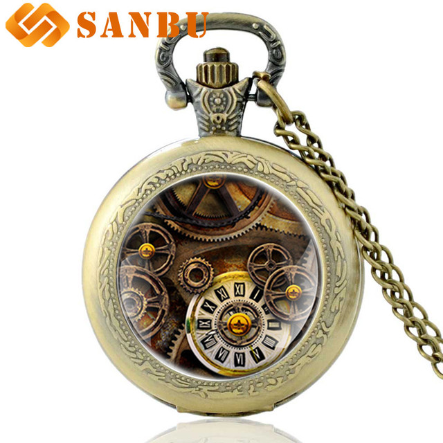 Classic Steampunk Pocket Watch Vintage Gear Bronze Men Women Quartz Necklace Wat