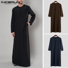 Incerun 2021 muçulmano homem árabe islâmico kaftan zíper manga longa robes abaya arábia saudita jubba thobe vestido caftan roupas masculinas 5xl