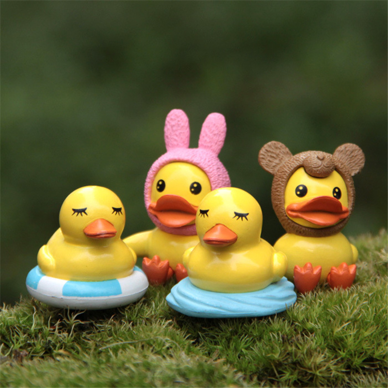 Stupendous 4Pcs Set Mini Cute Duck Ornaments Happy Birthday Cake Decorations Funny Birthday Cards Online Alyptdamsfinfo