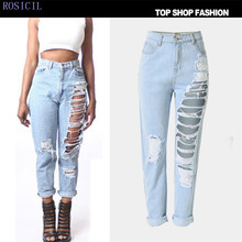 ROSICIL  Summer New Jeans Women Ankle-Length Straight High Waist Jeans Lady Ripped Loose Fashion Trousers Hot T-SL022#