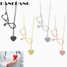 2017 New Arrival Heart Stethoscope Lariat Necklace Charms Pendant Gift for Doctor medical students Solid Jewelry Accessories