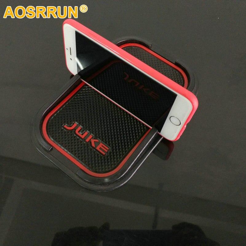 AOSRRUN Rubber phone mat GPS Stents Mat Car Accessories For Nissan Juke 2012 2013 2014 2015 2016