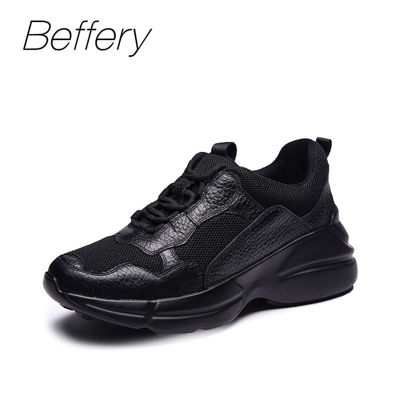 Beffery Genuine Leather running Sneakers Women Breathable mesh Fashion Flat Platform wedges Shoes Women Lace-up casual shoes beffery spring summer genuine leather casual sneakers women flat breathable shoes fashion lace up shoes women platform shoes