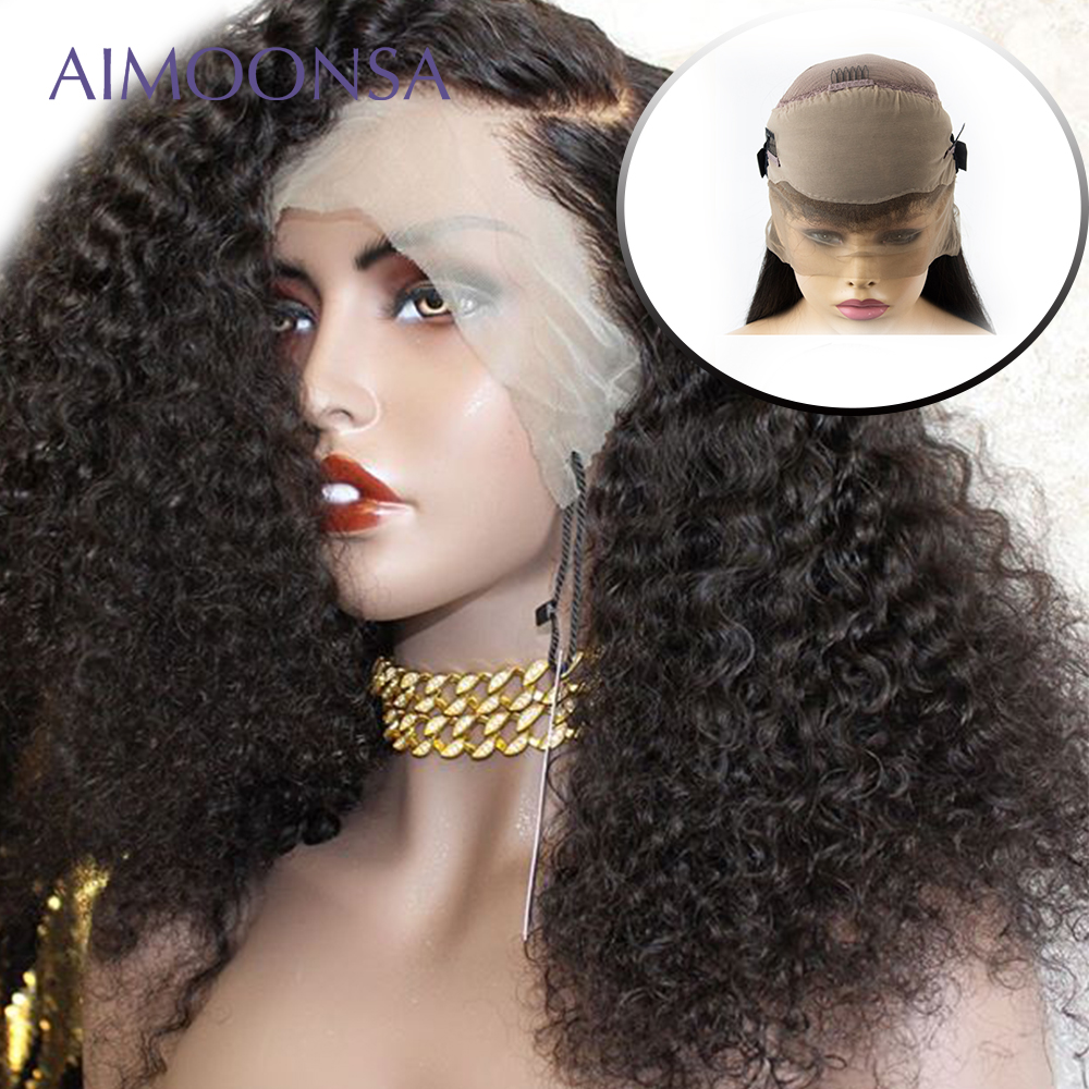Fake Scalp Cap 360 Lace Front Human Hair Wigs For Women Black 180 Density Pre Plucked Glueless Curly Wig Brazilian Remy Wigs