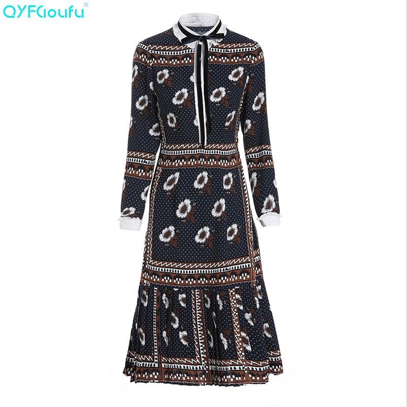 QYFCIOUFU New 2019 Runway Midi Dress High Quality Womens Fashion Designer Long Sleeve Dress Elegant Floral Print Vintage Dress