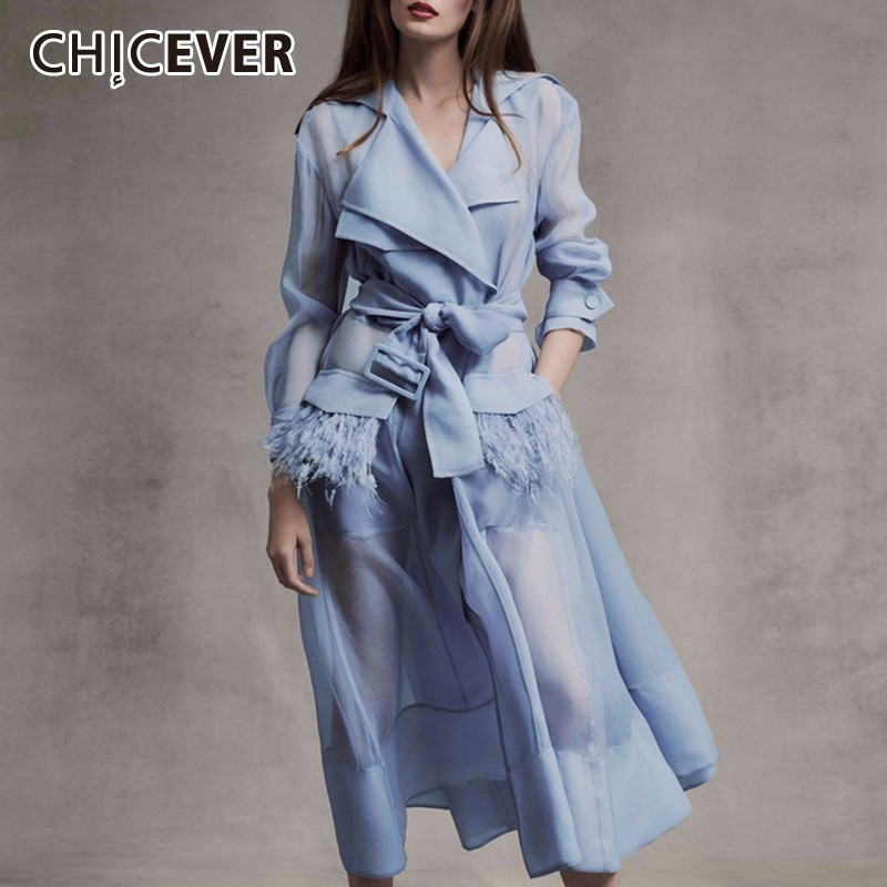 CHICEVER Summer Elegant Voile Perspective Dress For Women Notched Long Sleeve High Waist Patchwork Feather Mid Calf Dresses 2019