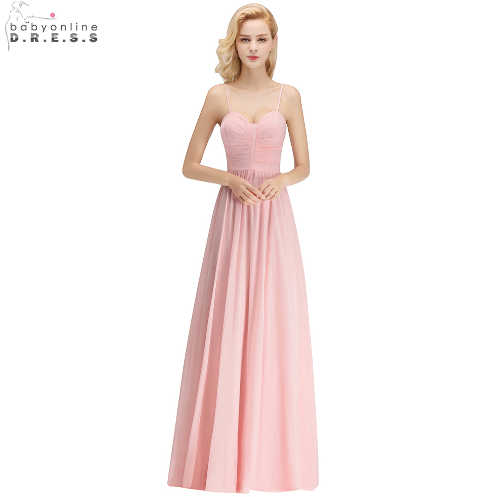 Babyonline Spaghetti Straps Long Chiffon Sweetheart   Bridesmaid     Dresses   2019 Custom Made Wedding Party   Dress   vestido longo