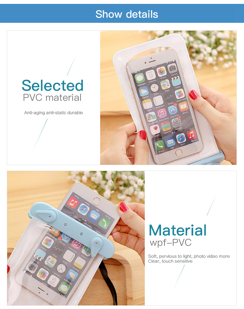 !ACCEZZ PVC Waterproof Phone Case Bag 6 inch For iPhone XR Xiaomi Huawei Samsung Swimming Outdoor Mobile Phone Pouch Cover Case (10)