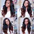 Ombre Human Hair Full Lace Wigs Raw Indian Remy Hair Two Tone Ombre Colored Glueless Lace Front Human Hair Wigs For Black Women