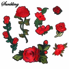 1 pcs/lot Brand Embroidered Stripe Patches Flower Red Flower Patches Iron On Fabric Badge Sew On Clothes Appliques DIY Wedding