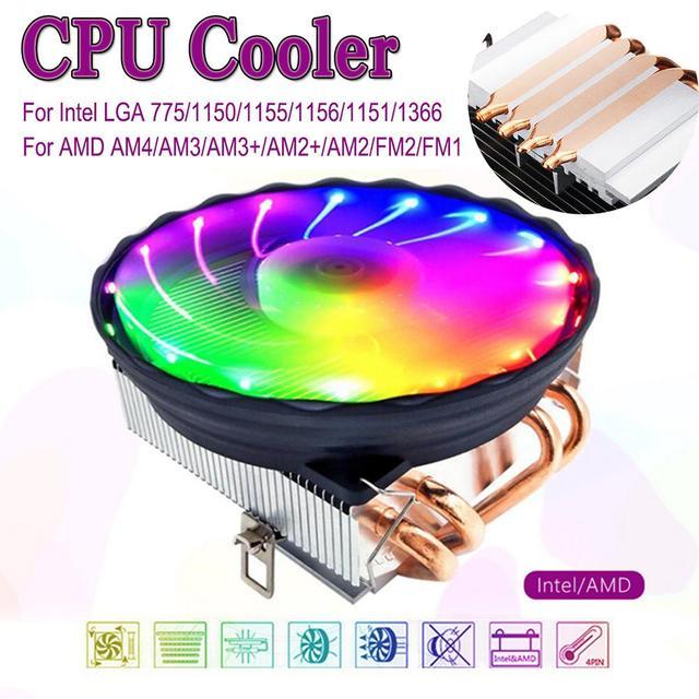 LED RGB CPU 쿨러 4 핀 히트 파이프 AMD AM3 + AM 용 Intel LGA 1150/1151/1155/1156 용 조용한 쿨러 팬 냉각 방열판 라디에이터