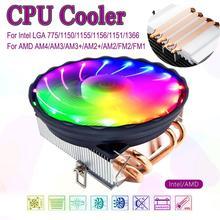 LED RGB CPU Cooler 4pin Heatpipes Silenzioso di Raffreddamento Ventola di Raffreddamento del Dissipatore di Calore Del Radiatore di raffreddamento per Intel LGA 1150/1151/1155/1156 per AMD AM3 + AM