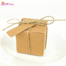 Big Heard Love 50pcs Paper Square Kraft Box Candy Box For Wedding Decoration With Name Card