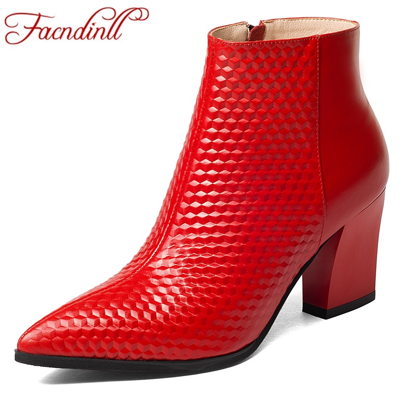 FACNDINLL 2018 women ankle boots autumn shoes handmade genuine leather high heel black sexy pointed toe shoes woman riding boots xiangban handmade genuine leather women boots high heel ankle boots pointed toe vintage shoes red coffee 6208k11