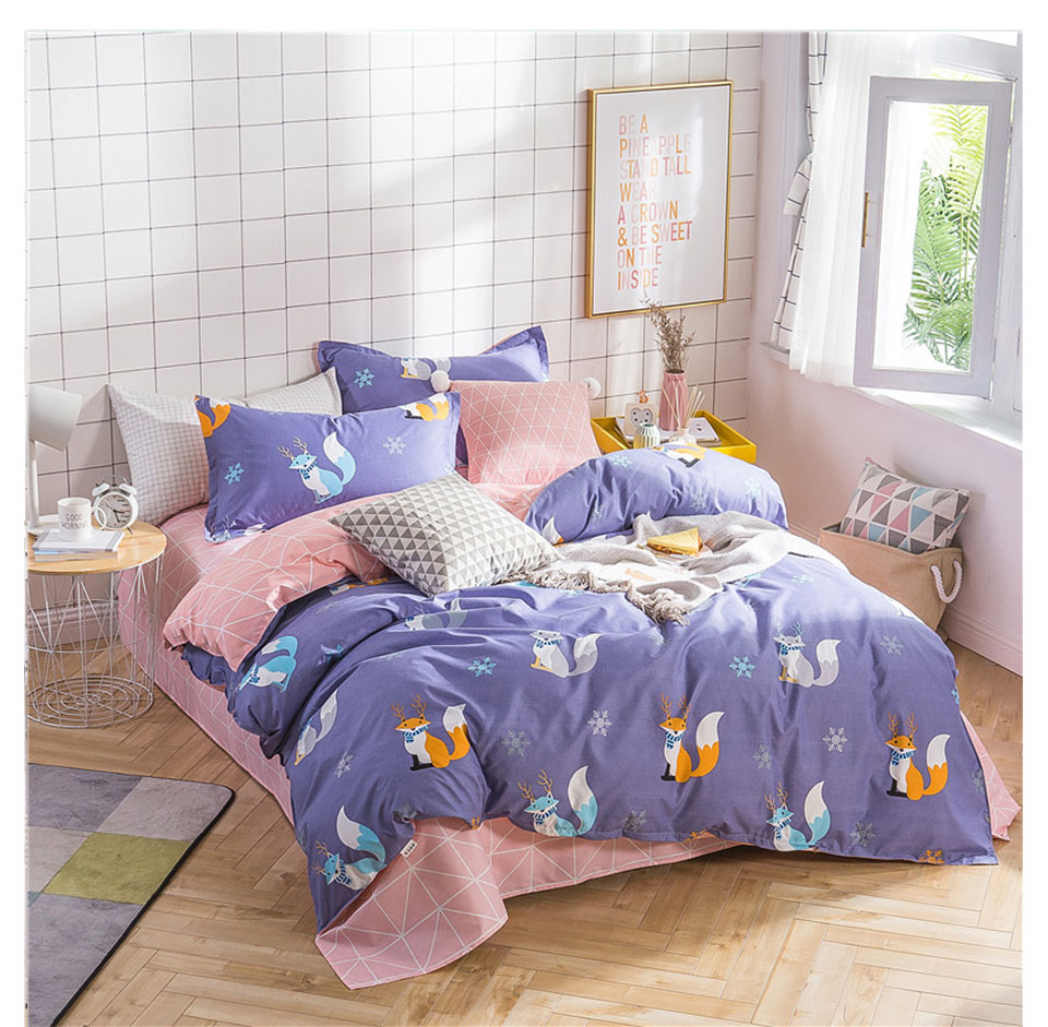 Kinderbettwäsche Größe Liv Ethete Fashion Art Fox Blue Bettwäsche Set Elegante Bettbezug Active Printing Bettwäsche Twin Full Queen King Size Tagesdecke