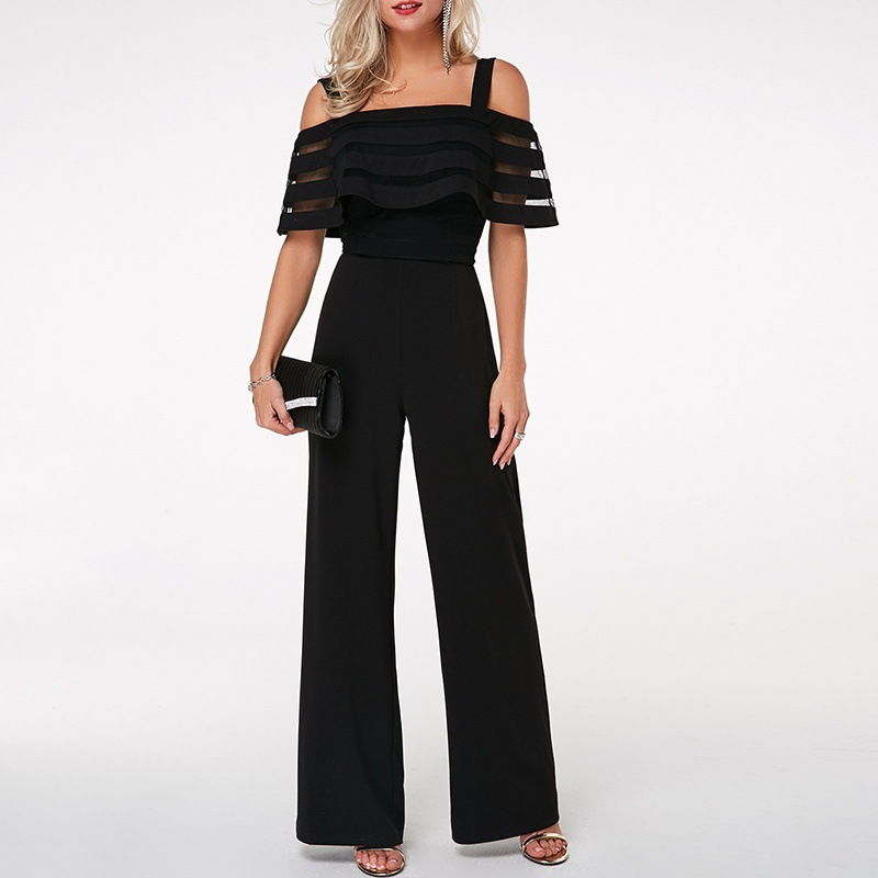 Plus Size Long Wide Leg Romper Overlay Embellished Black Strappy Cold Shoulder Jumpsuit Loose Solid Jumpsuit