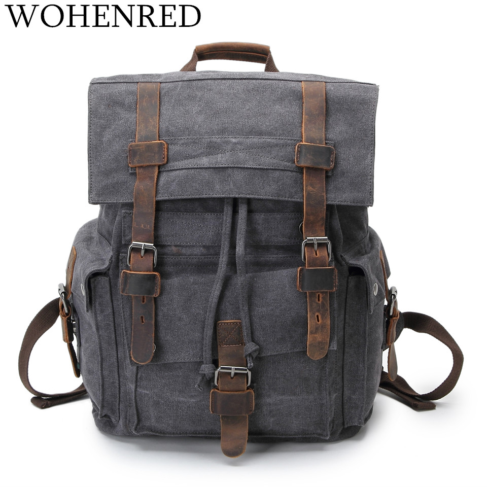 Vintage Leather Military Canvas Backpack Men Large School Bag Dark Gray Unisex Casual Daypacks Travel Rucksack Laptop Bookbag dispalang brand laptop backpack flamingo pattern multifunction rucksack men casual daypacks unisex school bookbags bagpacks pack