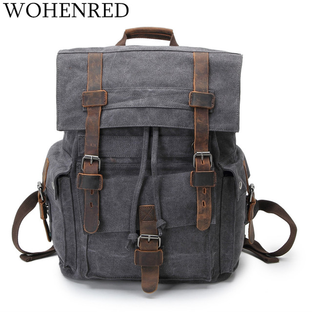 6bca1ab8eb58 Vintage Leather Military Canvas Backpack Men Large School Bag Dark Gray  Unisex Casual Daypacks Travel Rucksack Laptop Bookbag
