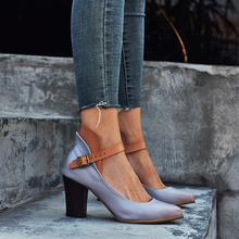 Fashion Pumps Women Sandals High Heels Square Ankle Strap Casual Hemp Comfort Pointed Toe Vintage Leather Gray Purple