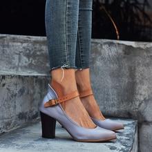 Sandalias de tacón alto para mujer a la moda, sandalias informales de cáñamo con correa cuadrada para el tobillo, sandalias de punta estrecha, cuero Vintage, gris y morado