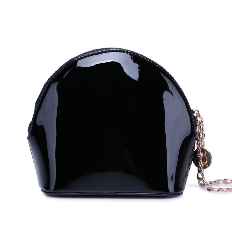 Black and white patent leather bag