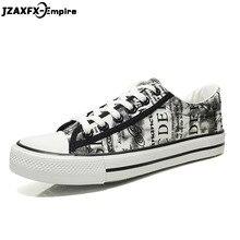 2018 Graffiti Canvas Shoes Men Casual Flat Shoes Lace-up Comfortable Fashion Print Footwear Male Vulcanize Shoes