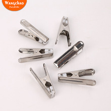 10pcs Multipurpose Stainless Steel Clips with Plastic Sheet  Clothing Clamps Sealing Clip Household Clothespin