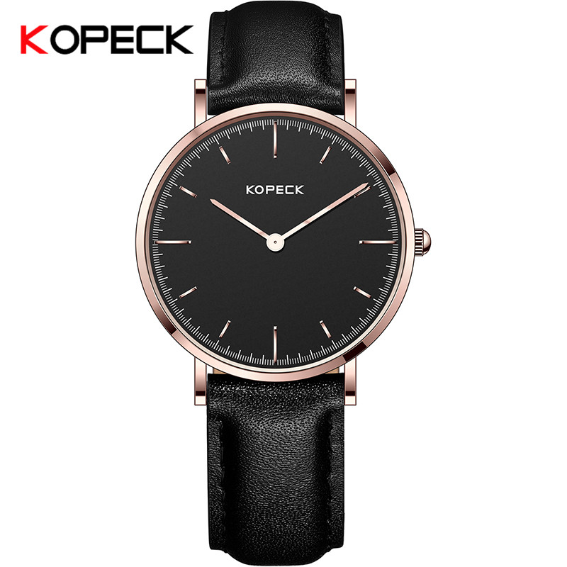 KOPECK Business Quartz Watch Men Watches Top Brand Luxury Famous Male Clock Leather Wristwatch For Man Hodinky Relogio Masculino new stainless steel wristwatch quartz watch men top brand luxury famous wrist watch male clock for men hodinky relogio masculino