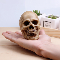 9x7x8cm Lovely Antique Trumpet High Simulation Model Of Human Skull Resin Skull Art Copy Tricky Props