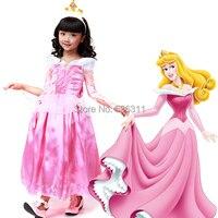 2015 Princess Dress Sleeping Beauty Birthday Party Dress Pink Princess Aurora Cosplay Costume For Children Girls
