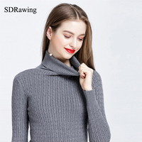 SDRawing High Quality Turn Down Collar Sweater Winter Pullover Solid Knitter Wear Sweater Top For Women