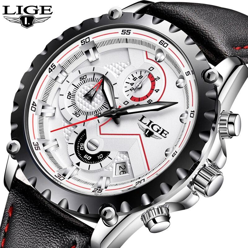 Relogio Masculino LIGE Watches Men Luxury Brand Fashion Business Quartz Watch Men Stopwatch Sport Military Leather Wristwatches