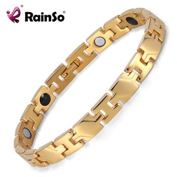 Rainso Therapy Power Bracelet Health Pulceras for Women/Men Gold Color Titanium Magnetic Bracelets & Bangles OTB-1290 1