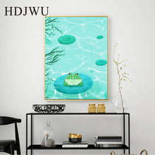 Nordic Art Home Decor Canvas Painting Wall Picture Pond Frog Printing Posters Pictures for Living Room  DJ195