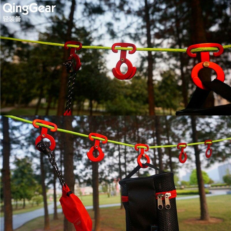 Tent Rope Tightener Aluminum Alloy Clip Carabiner Hook Hanger Camping Hiking