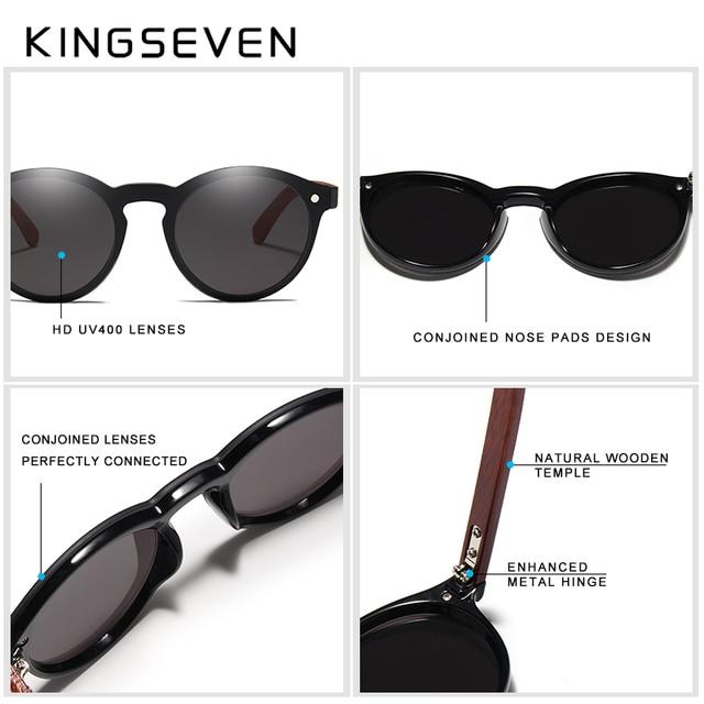 KINGSEVEN DESIGN 2018 Wooden Sunglasses For Men/Women High Quality Mirror Lens UV400 Classic Sun Glasses With Wooden Package Men's Glasses