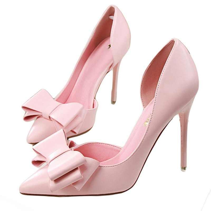 Năm 2018 thời trang ngọt ngào tinh tế nơ cao gót giày bên rỗng cánh Nhọn Gót Giày nữ bơm