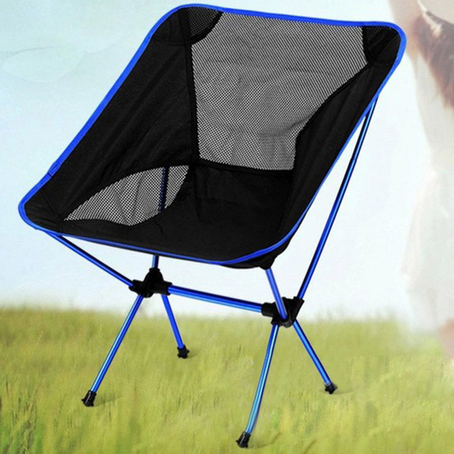 Attractive Dark Blue Lightweight Folding Chair Fishing Chairs Outdoor Camping Seat  Sketching Picnic Beach Portable Chair Pouch