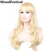womens wigs synthetic hair blond wig curly long blonde wig with bangs heat resistant synthetic wigs WoodFestival  стоимость