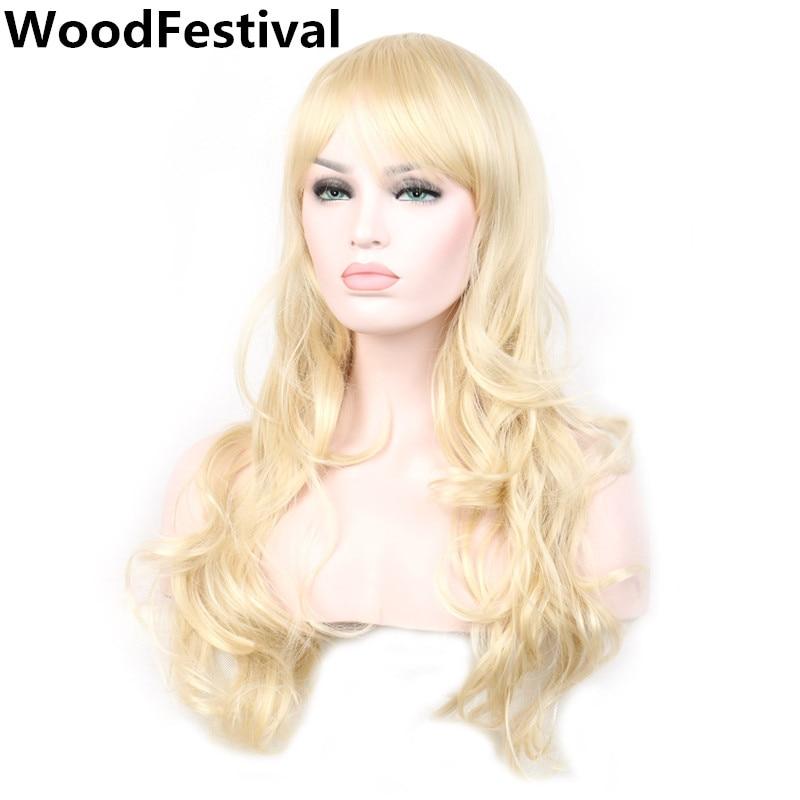 נשים פאות סינתטי שיער בלונדינית פאה מתולתל ארוך בלונדיני עם פאות חום עמיד סינתטי פאות WoodFestival