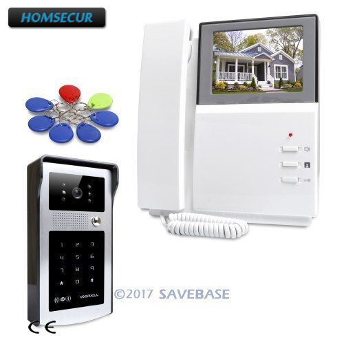 HOMSECUR 4.3inch Video Security Door Phone with Keyfobs Password Keypad for Home Security