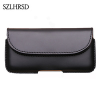 SZLHRSD Men Belt Clip Genuine Leather Pouch Waist Bag Phone Cover For Oukitel K10000 Mix Max