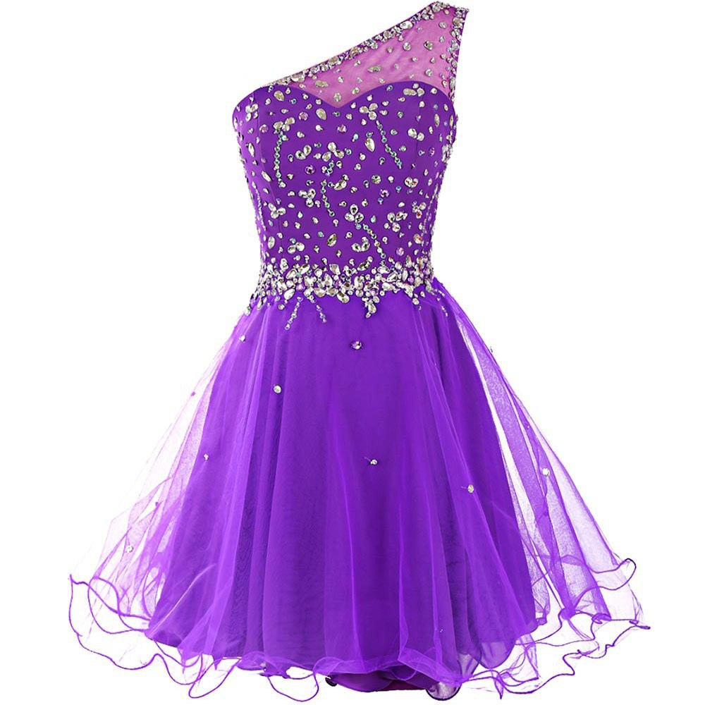 Purple Bling Cocktail Dresses 2019 Sequins Tulle Sexy Mini Bridal Party Short Prom Dress One Shoulder Above robe de soriee