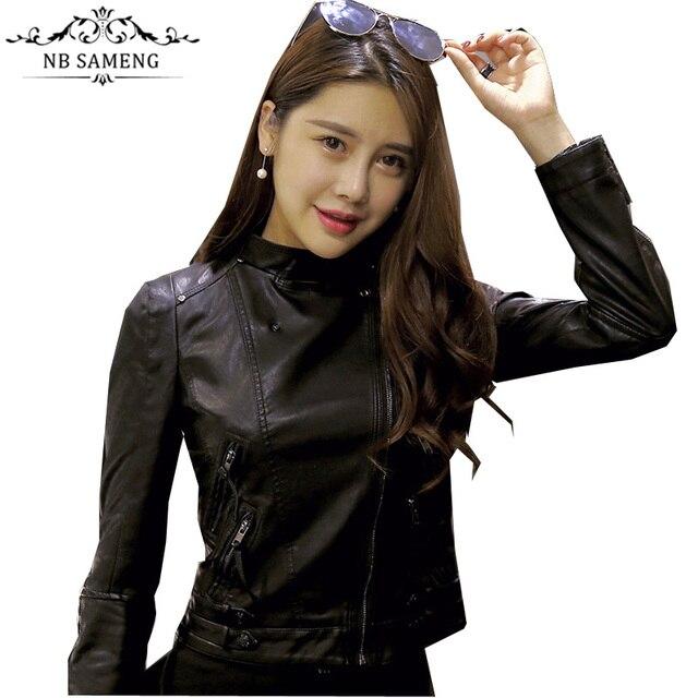 New Slim Black Biker Zipper Rivet Women Coats Stand Collar Short Motorcycle Jacket Outerwear Female Faux PU Leather Plus Size